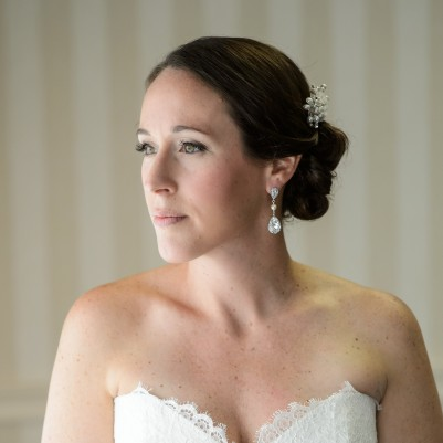 Elegant wedding updo and makeup